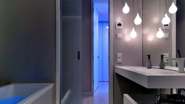 Magical LED lighting effects in a modern apartment in Poland