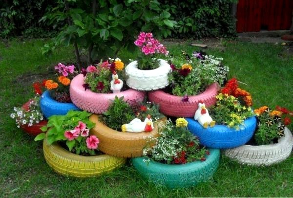 make gardening ideas with old car tire flower pots and stool itself - Garden Ideas Using Pots