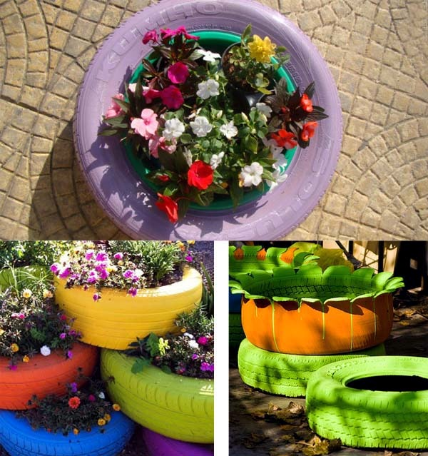 Make gardening ideas with old car tire flower pots and - Painted tires for flowers ...