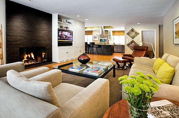 Male and female shape style living room interior contrasts for Male living room ideas