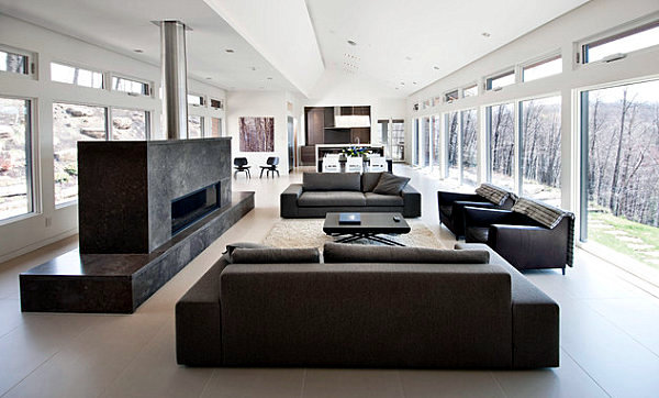 Male and female shape style living room interior contrasts