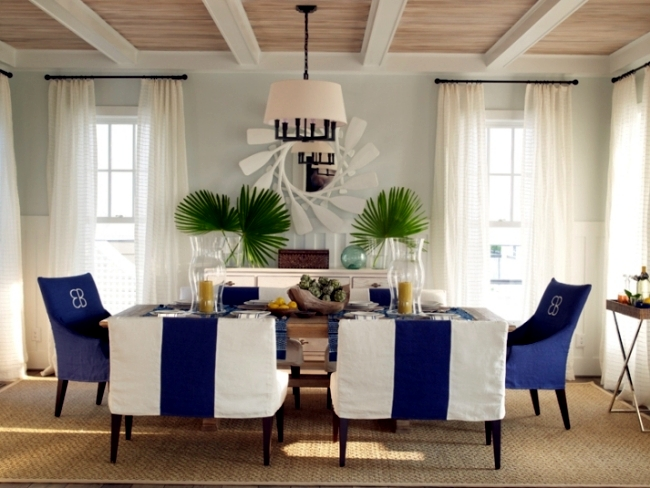Maritimes dining room set - aqua colors and symbols of the sea