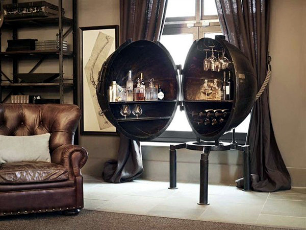 mini bar of metal for the industrial look in the living room interior design ideas ofdesign. Black Bedroom Furniture Sets. Home Design Ideas