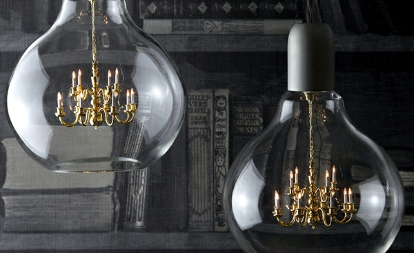 Mini crystal chandelier in a light bulb - the Edison lamp