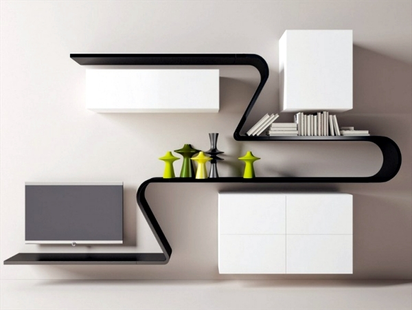 Minimalist Wall Shelf Design Wave By Novamobili Interior