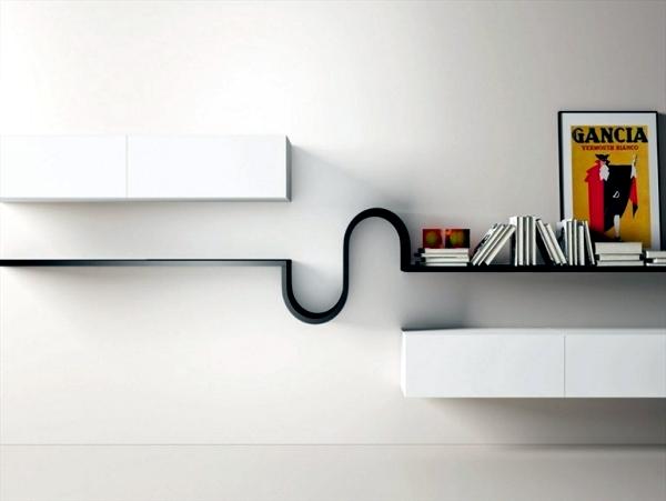 Minimalist Wall Shelf Design Wave by Novamobili