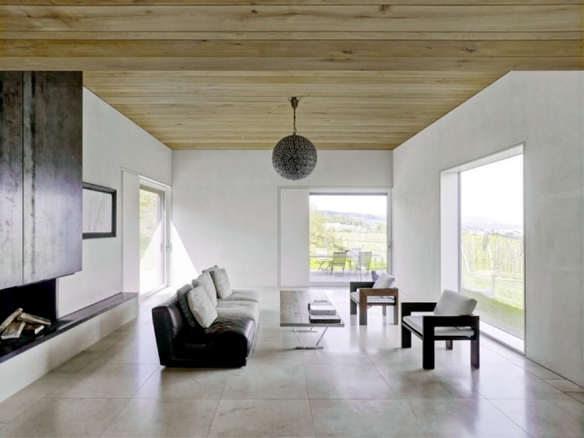 Minimalist wooden house on Lake Zurich with clean design
