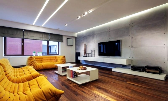 Modern apartment with minimalist interior design in for Industrial minimalist design