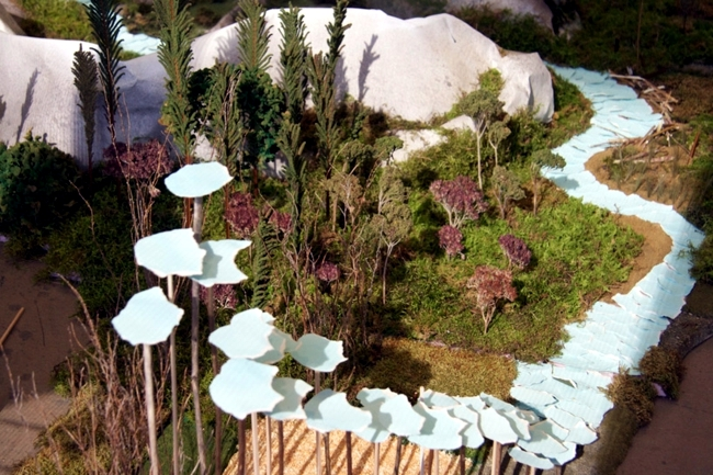 Modern art installation inspired by nature landscape