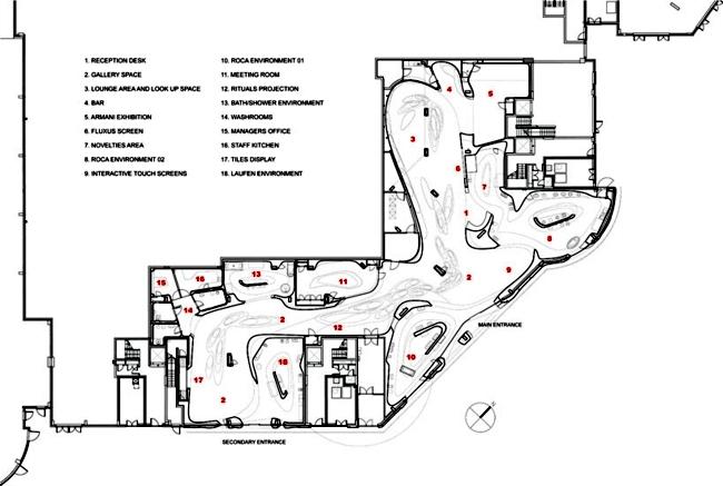 Modern bathroom exhibition - Interior project by Zaha Hadid for Roca