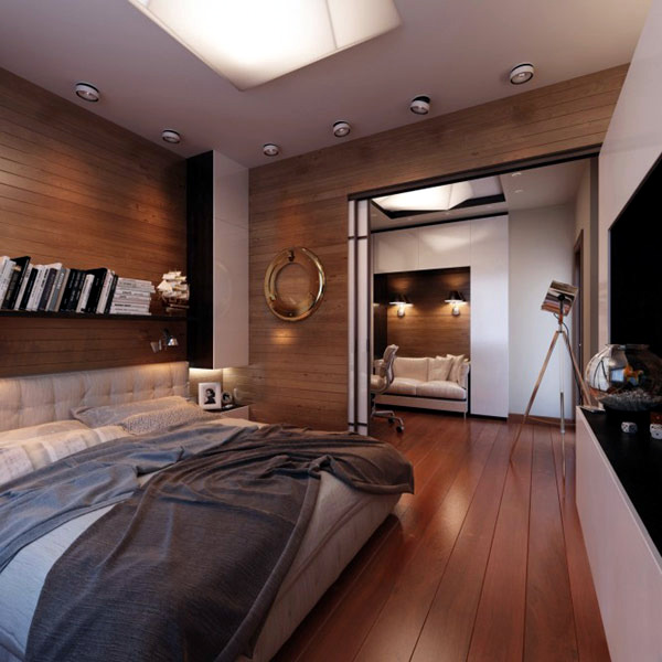 Modern bedroom interior - Equipment for travel enthusiasts