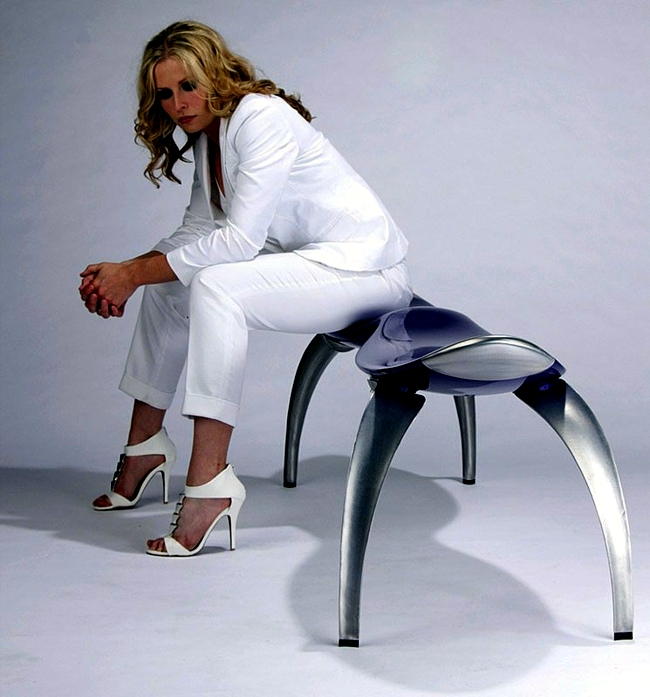 Modern bench for two - futuristic design of plastic