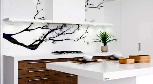 Modern glass kitchen splash back wall designs offer protection in the kitchen interior design Kitchen profile glass design