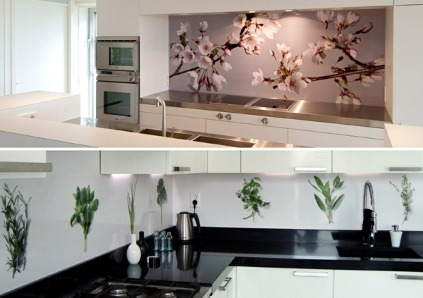 Modern glass kitchen splash back wall designs offer protection in the kitchen
