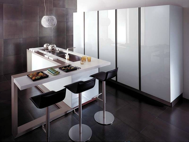 Modern high gloss kitchen in white - 20 dream kitchens with high gloss fronts
