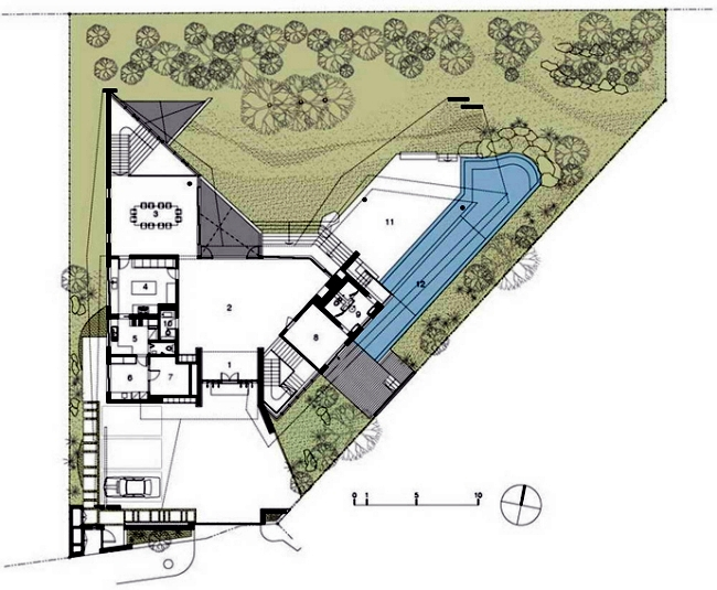 Garden Design Triangular Plot modern house in singapore with trapezoid shape on a triangular