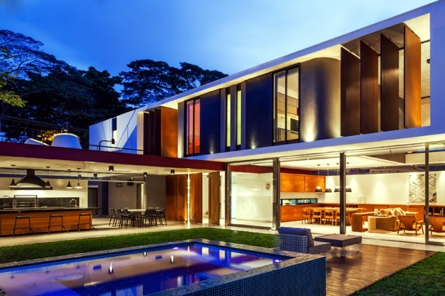 Modern house with a flat roof, garden and pool in Sao Paolo