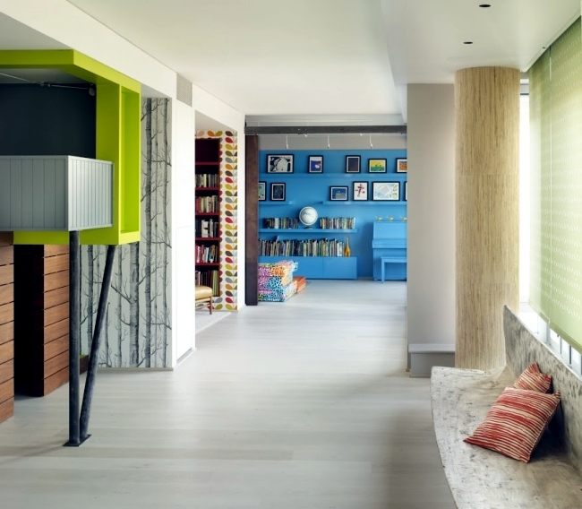 Modern interior design in California-style with vibrant colors