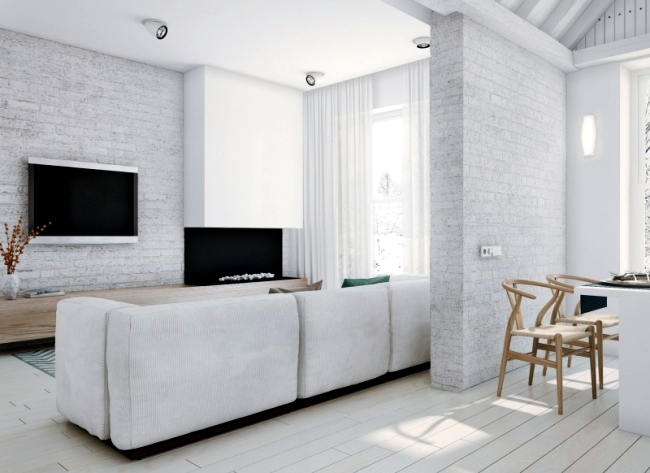 Modern loft with minimalist style in a white interior for Modern minimalist interior design style