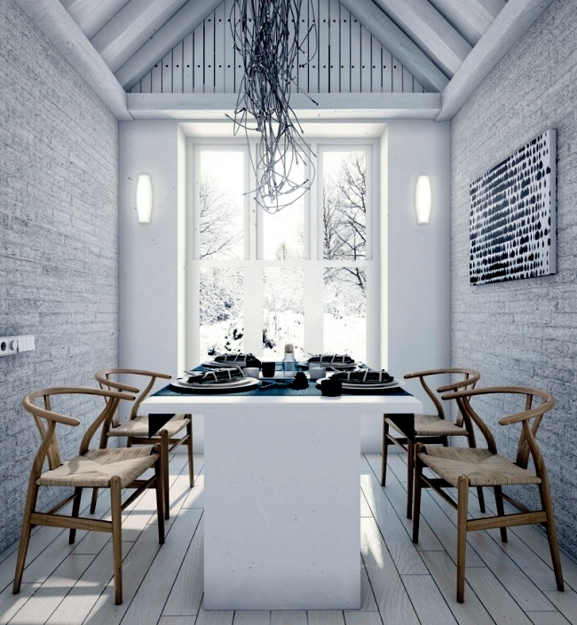 Modern loft with minimalist style in a white