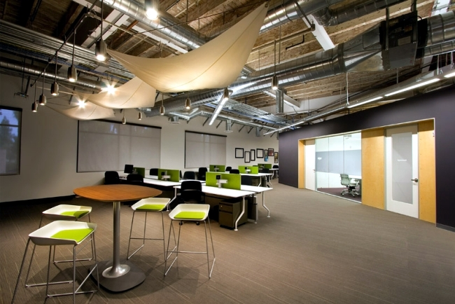 Modern office design of the Skype headquarters in Palo Alto, California