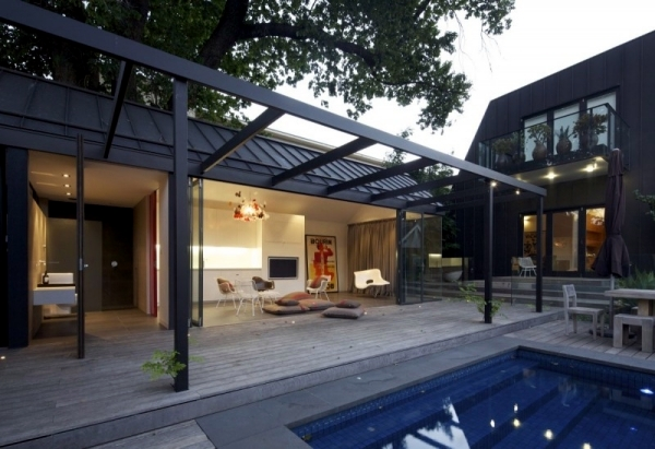 Modern Pool House Design in Australia with natural shading