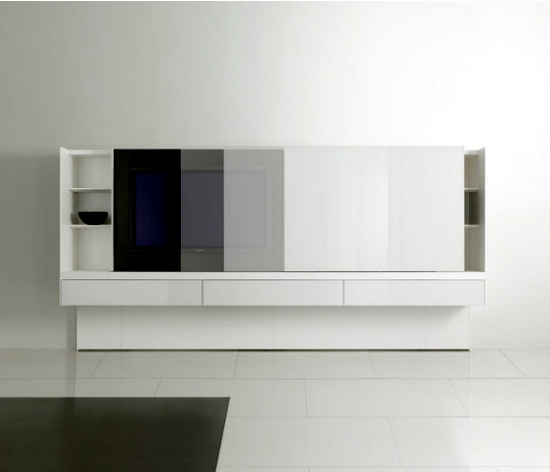 Modern shelving designs with built-in screens from Acerbis