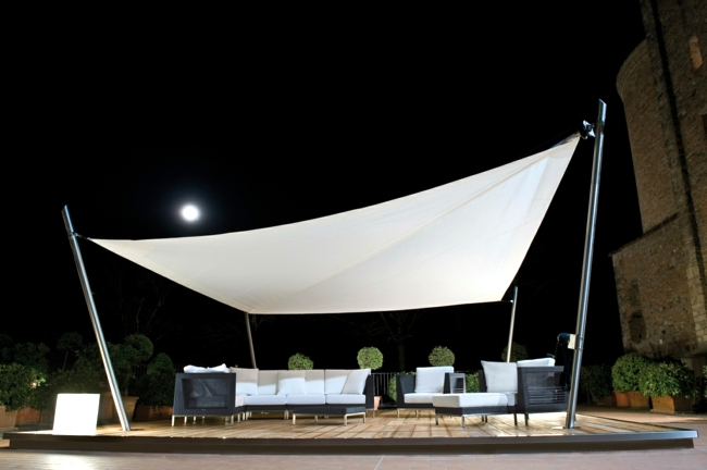 Modern solar sail designs offer sun protection in the summer days