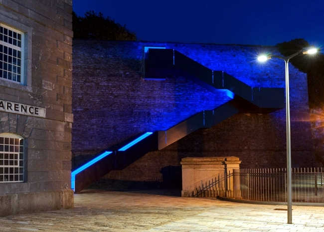 Modern staircase design with LED lights on the shore in Plymouth