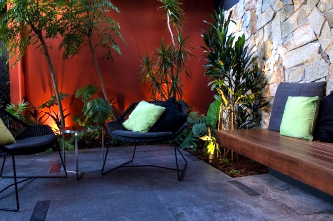 Modern urban garden landscape conveys a touch of exoticism