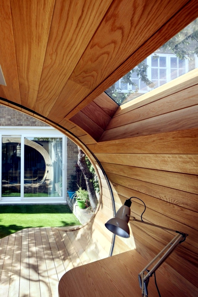 Modern wooden pavilion in the garden design will accommodate small office space