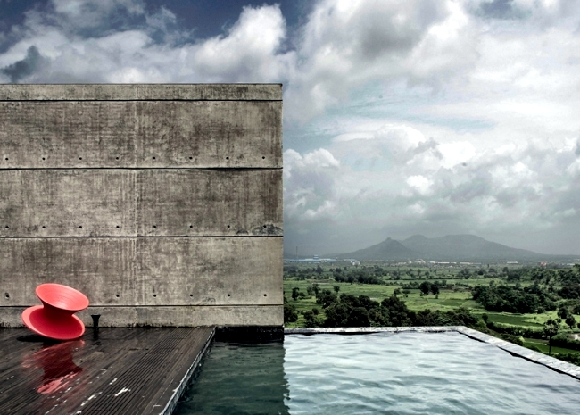 Monolithic concrete house with spectacular views in India