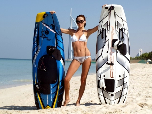 Motor driven surfboard designer of JetSurf unveiled new sport