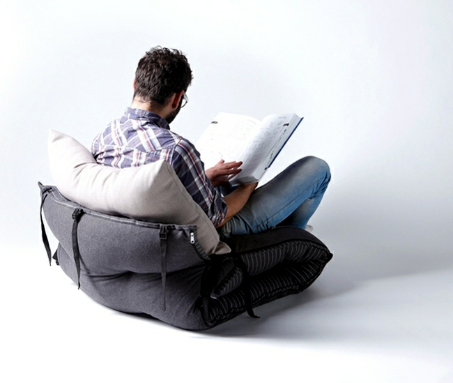 Multifunctional Bed Design transforms into chairs and beanbag