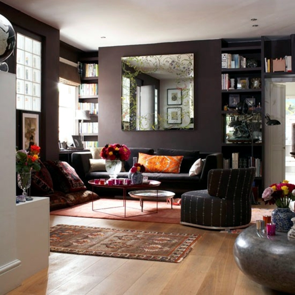 Natural color earth colors – in brown living room | Interior Design ...