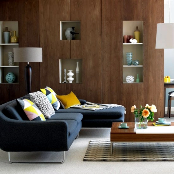 Natural color earth colors - in brown living room ...