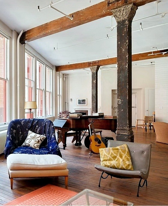 New York Loft Slightly Bohemian Interior Design Ideas