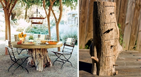 Decoration and furniture tree trunk to the garden. Of decoration and furniture from tree trunk itself   15 fast craft