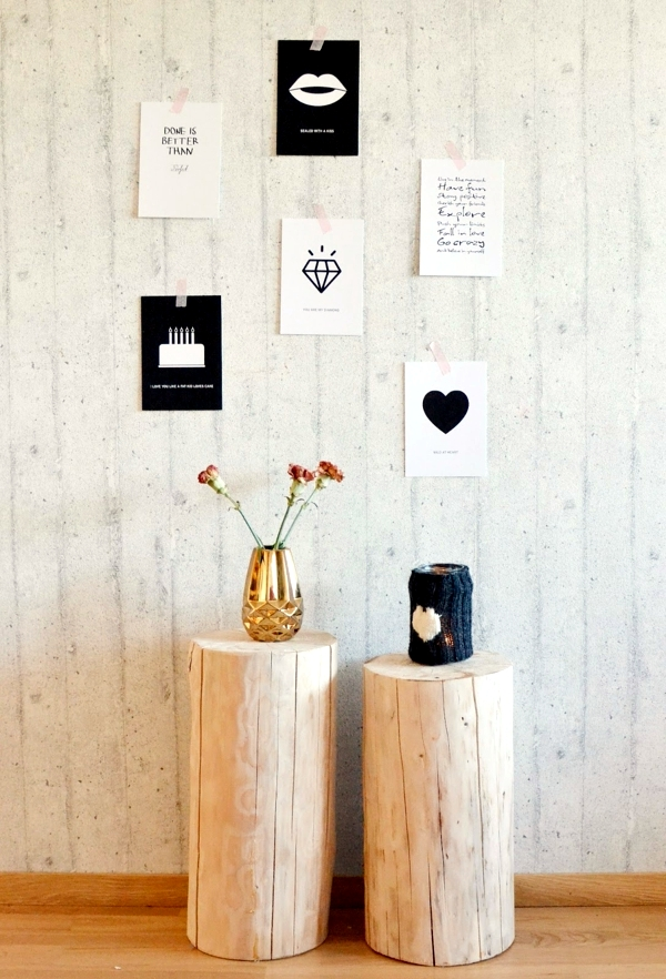 Of decoration and furniture from tree trunk itself - 15 fast craft ideas