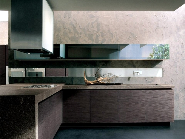 Onda designer kitchen wooden veneers of Franco Druisso for Arrital