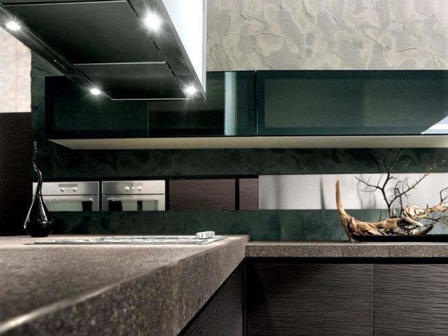 Onda designer kitchen wooden veneers of Franco Druisso for Arrital