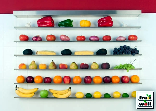 Organize practical wall shelf for fruits and vegetables clearly : Interior Design Ideas - Ofdesign