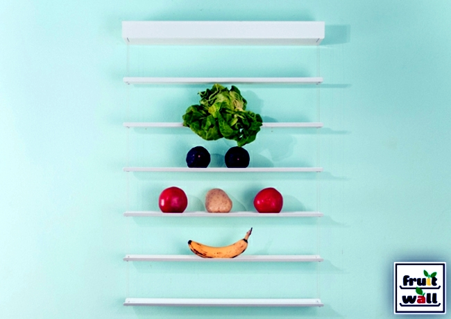 Organize practical wall shelf for fruits and vegetables clearly