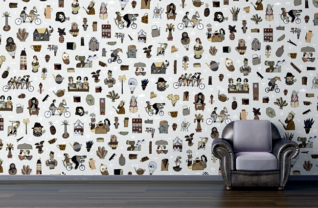 Original pattern wallpaper and wall stickers decorate any room