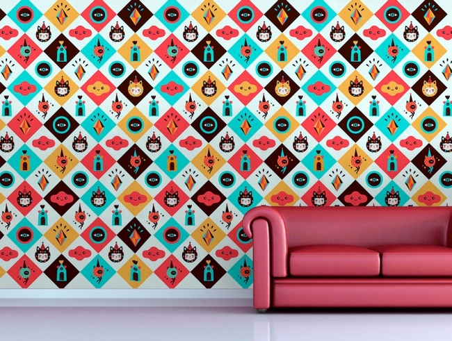 Ornate wallpaper with pattern as decoration in interior