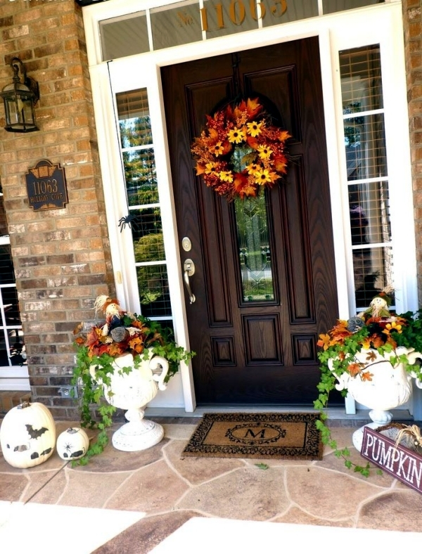 Outdoor Decorations For Fall Decorate The Entrance Seasonal Interior Desi