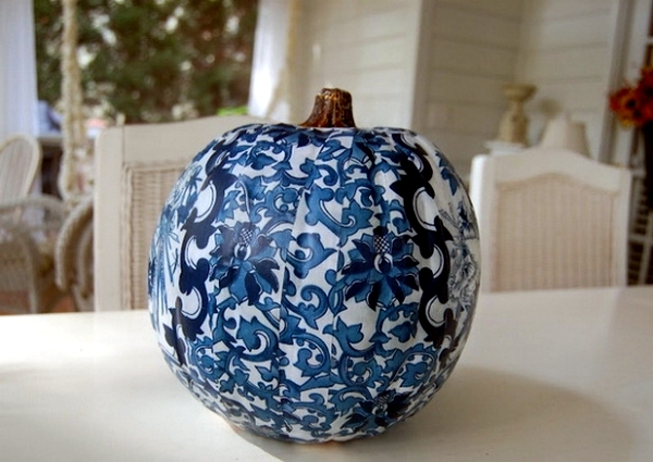 Painted halloween pumpkins with unusual but effective color