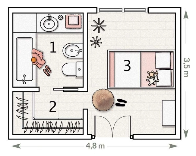 Pink children 39 s room with bathroom device for a little for Kids room planner