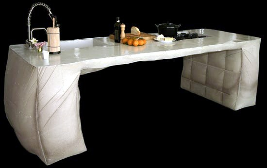Poured Concrete Kitchen Island Design By