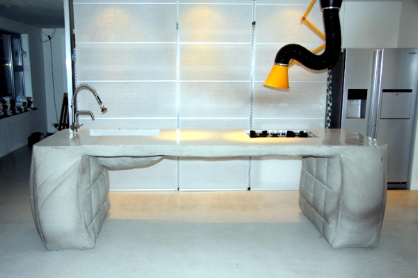 Poured concrete kitchen island - kitchen island design by Thomas Linssen